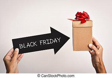 caixa, presente, texto, sexta-feira, homem preto
