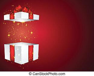 caixa, presente, vermelho, bow.