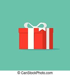 caixa presente, vetorial, ícone, apartamento, caricatura, desenho