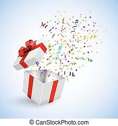 caixa, presente, vetorial, fundo, confetti, branca