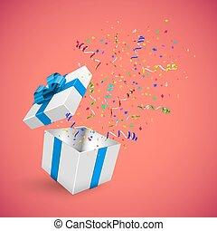 caixa, presente, vetorial, fundo, confetti, vermelho