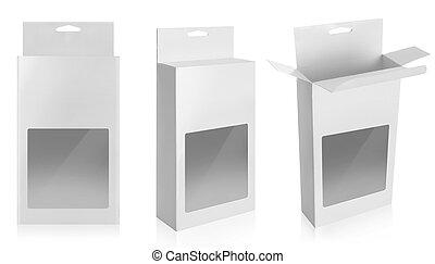 caixa, produto, branca, janela, pacote