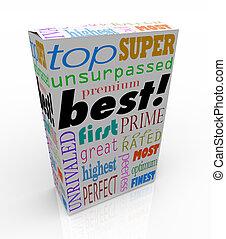 caixa, produto, compra, prêmio, topo, palavras, melhor