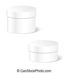 caixa, produto, jogo, recipiente, cilíndrico, pacote, branca, cima, vetorial, embalagem, realístico, lid., em branco, anunciar, goods., template., escarneça
