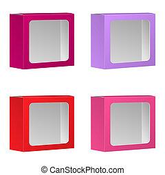 caixa, produto, pacote, set., isolado, vetorial, janela., fundo, em branco, branca