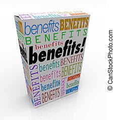 caixa, produto, palavra, marketing, qualities, benefícios, ...