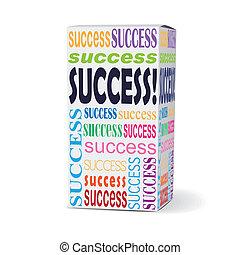 caixa, produto, palavra, sucesso