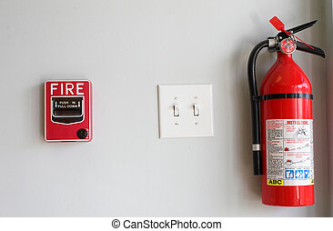 caixa, puxar, alarme, extiguisher, fogo