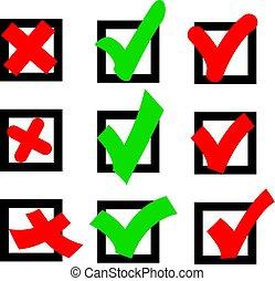 caixa, quadrado, não, contra, sinal, verde, voto, sim, vermelho, ícone