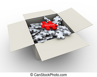 caixa, quebra-cabeça, 3d, peaces