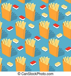 caixa, queijo, alimento, pattern., frita, seamless, francês, ketchup, experiência., papel, rapidamente, ornamento, molho, texture.