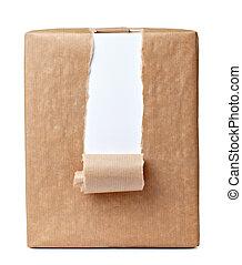 caixa, rasgado, embrulhando, pacote