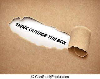 caixa, rasgado, exterior, atrás de, papel, palavras, pensar