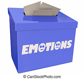 caixa, realimentação, parte, ilustração, sentimentos, emoções, sugestão, 3d
