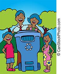 caixa, reciclagem, família, étnico