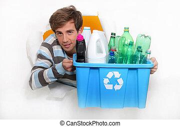 caixa, reciclagem, jovem, segurando, homem