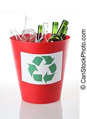 caixa reciclando, para, vidro