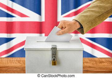 caixa, reino, unidas, -, pôr, votando, voto, homem