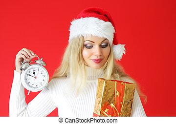 caixa, relógio, alarme, atraente, segurando, menina