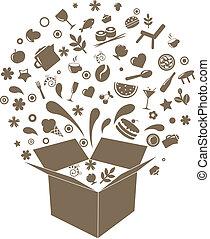 caixa, restaurante, ícones