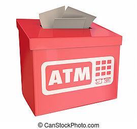 caixa, retirar, atm, ilustração, máquina, banco, sugestão, caixa automatizada, 3d