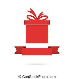 caixa, ribbon., design., presente, apartamento