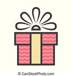 caixa, ribbon., gráfico, esquema, presente, apartamento, site web, bandeiras, modelo, ou, design.