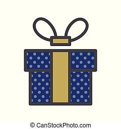 caixa, ribbon., gráfico, presente, apartamento, bandeiras, azul, escuro, website., ou, design.