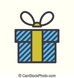 caixa, ribbon., gráfico, presente, apartamento, bandeiras, azul, website., ou, design.