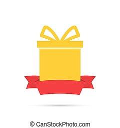 caixa, ribbon., presente