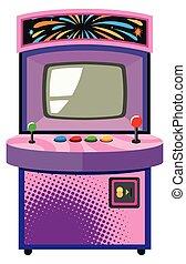 caixa, roxo, jogo, máquina, arcada