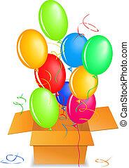 caixa, saída, balões, cima, ar