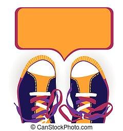 caixa, sapatos treino, coloridos, desgaste, conversa, pé, desporto