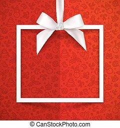 caixa, sedoso, presente, padrão, quadro, arco, papel, fita,...