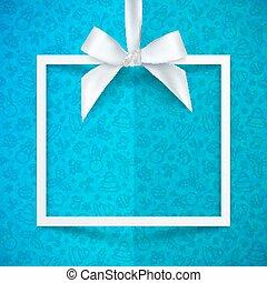 caixa, sedoso, presente, padrão, quadro, azul, arco, papel,...