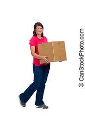 caixa, senhora, em movimento, jovem, segurando