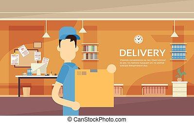 caixa, serviço, entrega embrulho estafeta, armazém, interior...