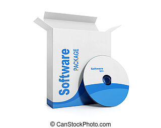 caixa, software., ilustração, licenciado, disco, macio, 3d