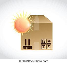 caixa, sol, luminoso, desenho, ilustração