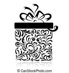 caixa, stylized, desenho, seu, presente