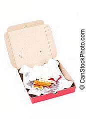caixa, sujo, pizza