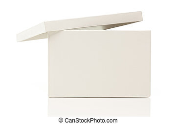 caixa, tampa, branca, em branco