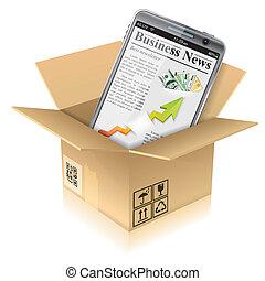 caixa, telefone, papelão, esperto