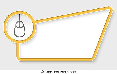caixa, texto, abstratos, amarela, ícone rato