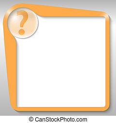 caixa, texto, laranja, marca pergunta
