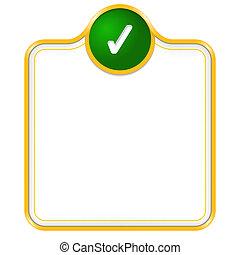 caixa, texto, vetorial, cheque, amarela