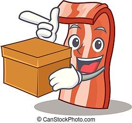 caixa, toucinho, estilo, personagem, caricatura