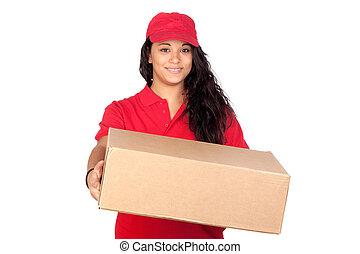 caixa, trabalhador, jovem, uniforme vermelho