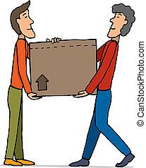 caixa, trabalho equipe, carregar, em movimento, /