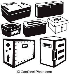caixa, transporte, ícones